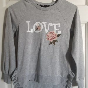 Girls Grey Love top with embroidered flowers